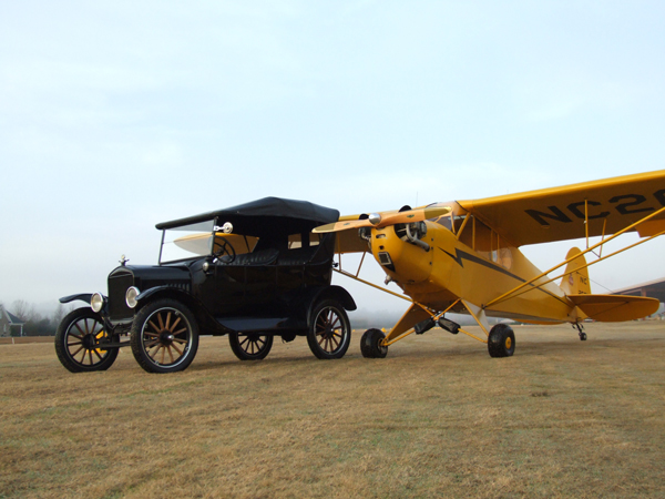 1940 J3 Cub Aircraft and 1923 Ford Model T Car